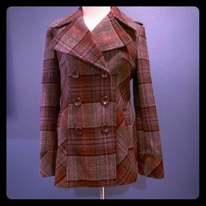 MODA INTERNATIONAL plaid pea coat